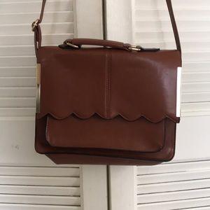 Brown ASOS briefcase purse